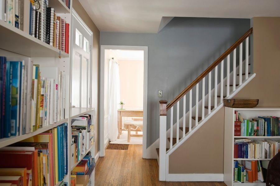 bookshelves in a home entrance