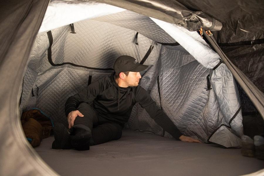 Soundproofing mat inside tent