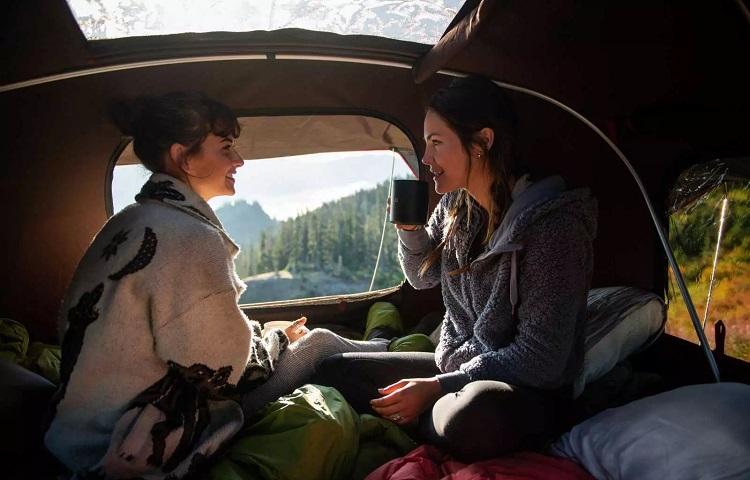 coffee inside tent