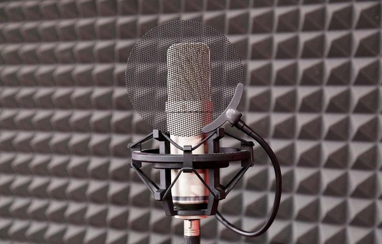 walls in studio with acustic foam