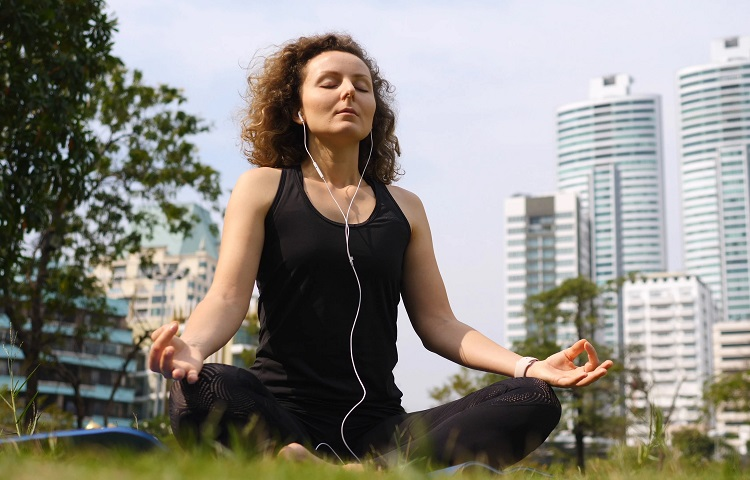 meditation with earphones